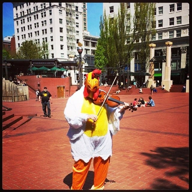 A chicken playing a violin in Pioneer Square at 11am on a Wednesday.