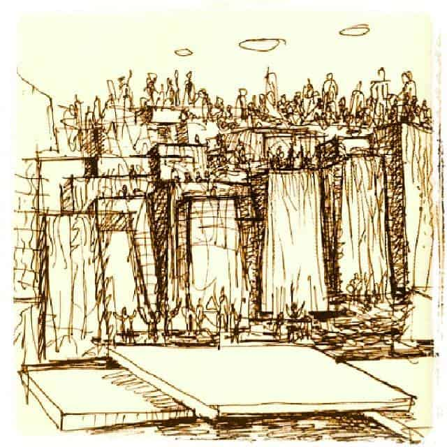Lawrence Halpern Sketch of Keller Fountain