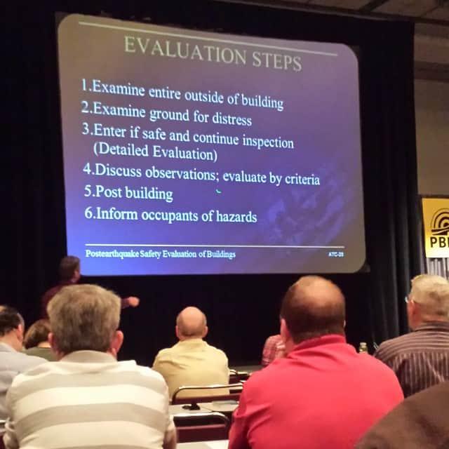 Post earthquake evaluation training.