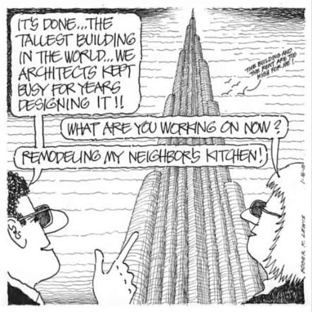 A funny architecture cartoon about Burj Khalifa