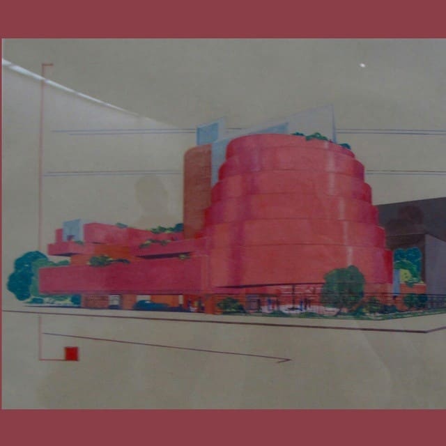 A rendering of the guggenheim pink